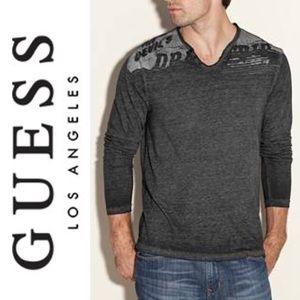 GUESS Myer Long-Sleeve Jersey Tee Gray V-Shape (L)